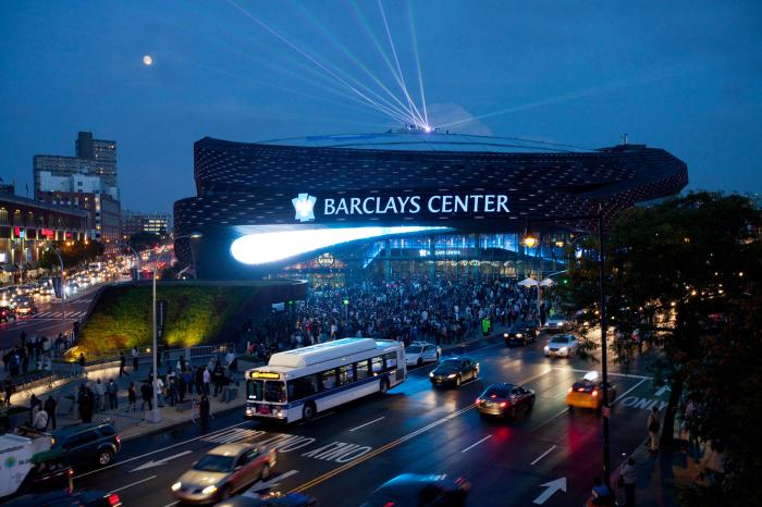 Спортивная арена Barclays Center с высоты птичьего полета