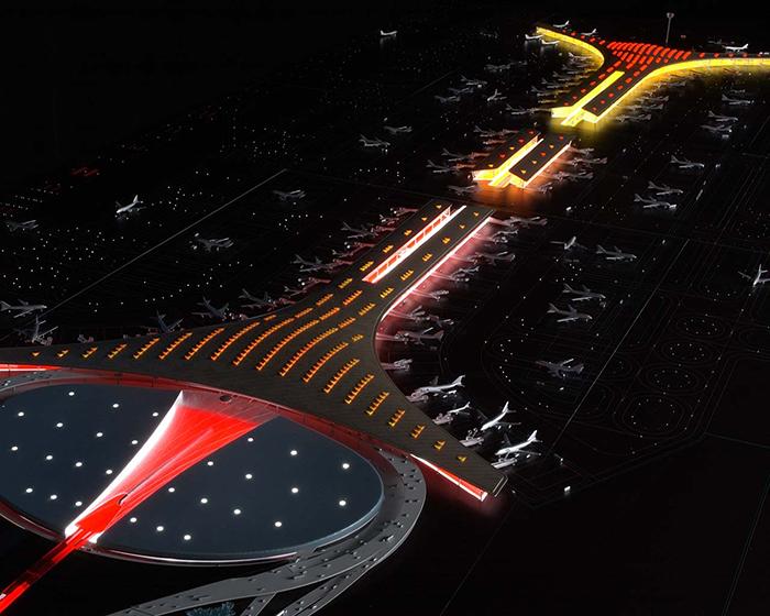 Новый терминал международного аэропорта Пекина ночью