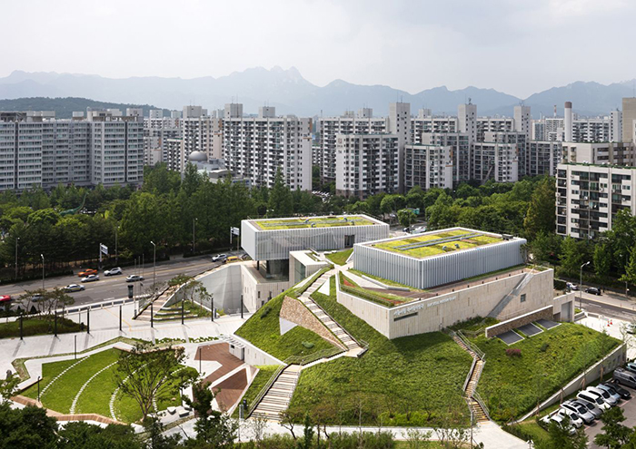 Музей современного искусства в Сеуле с высоты птичьего полета