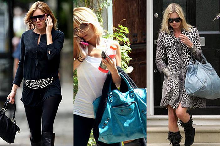 Американские звезды Сиена Миллер, Пэрис Хилтон и Кейт Мосс с сумкой от Боленсиага