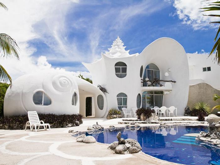 Гостиница в форме раковины в Исла-Мухерес, Мексика