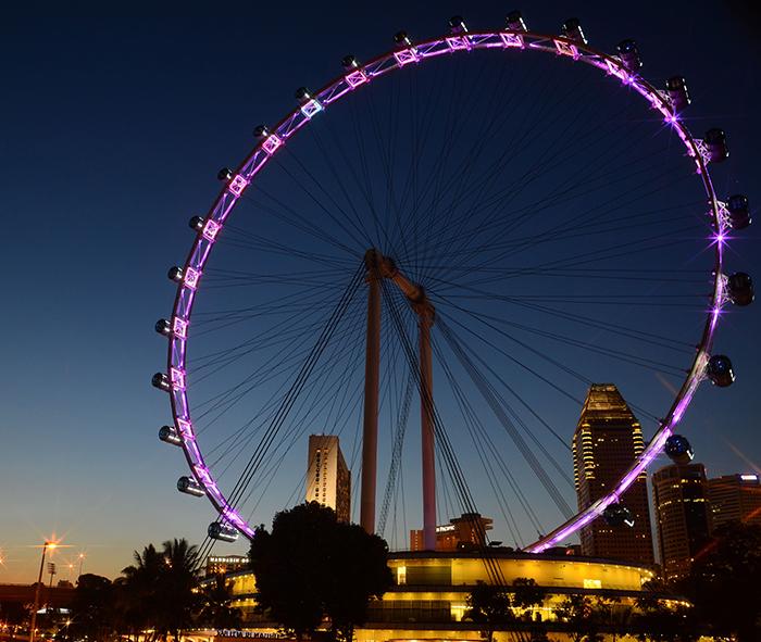 Колесо обозрения «Сингапур Флаер»: ночной кадр