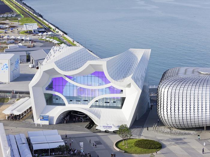 Павильон Hyundai для международной выставки Экспо-2012 в Йосу с высоты птичьего полета