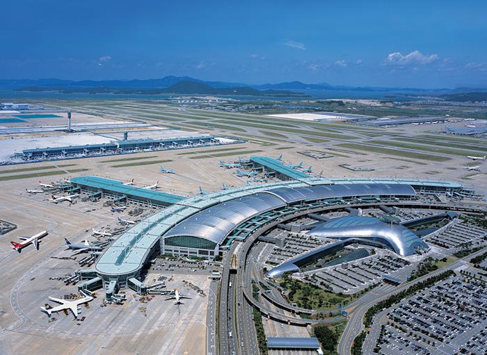 Международный аэропорт в Инчхоне с высоты птичьего полета