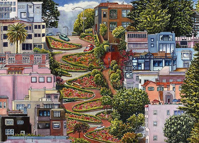 Ломбард-стрит в Сан-Франциско. Иллюстрация