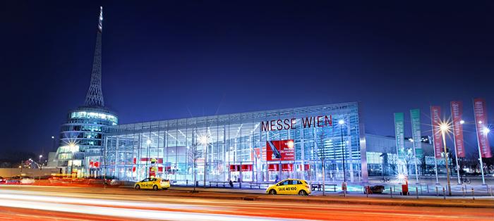 Выставочный центр Messe Wien в Вене: ночной кадр