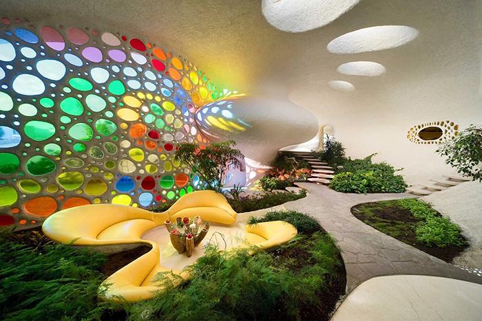 Жилой дом в форме ракушки в Мехико, Мексика: интерьер помещения