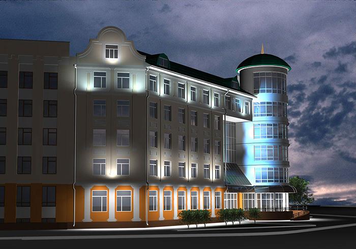 Управление Пенсионного фонда в Орле: ночной кадр, визуализация