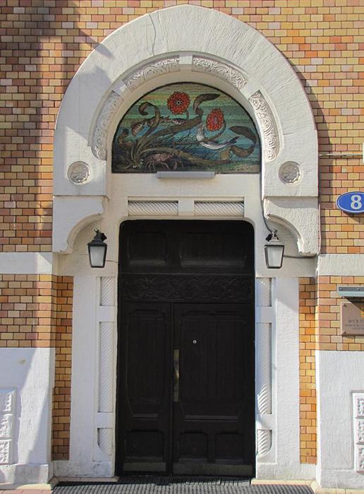 Особняк О. А. Листа в Глазовском переулке: главный вход в здание