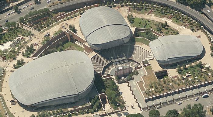 Концертный зал «Парко-делла-Музика» в Риме с высоты птичьего полета