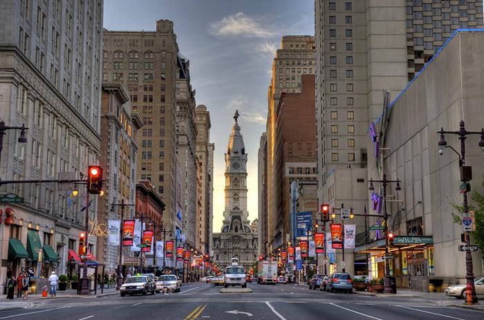 Перспектива одной из улиц Филадельфии