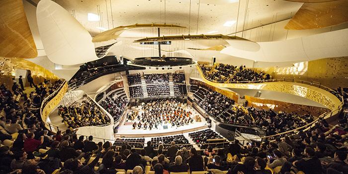 Филармония в Париже: интерьер концертного зала