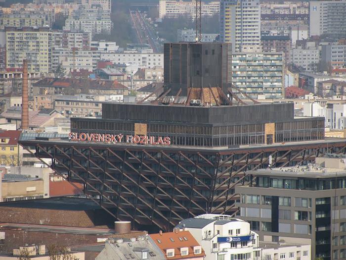 Здание радиостанции в Братиславе с высоты птичьего полета