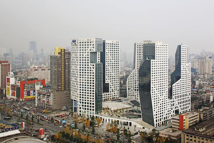 Многофункциональный комплекс Sliced Porosity Block в Чэнду с высоты птичьего полета