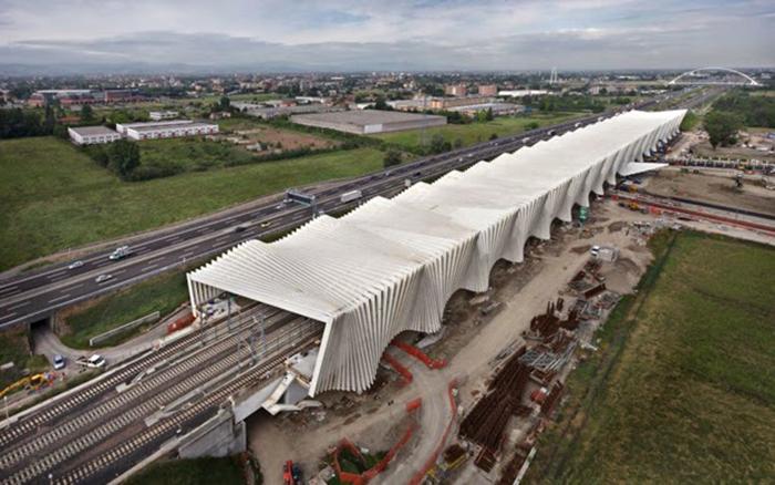 Железнодорожная станция в Реджио-Эмилия с высоты птичьего полета