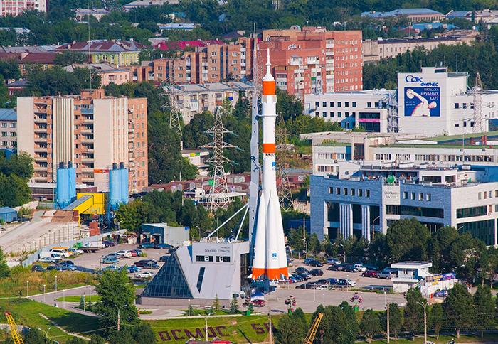 Музейно-выставочный комплекс «Самара Космическая» с высоты птичьего полета