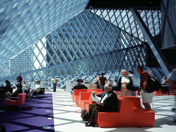 Центральная библиотека в Сиэтле: интерьер