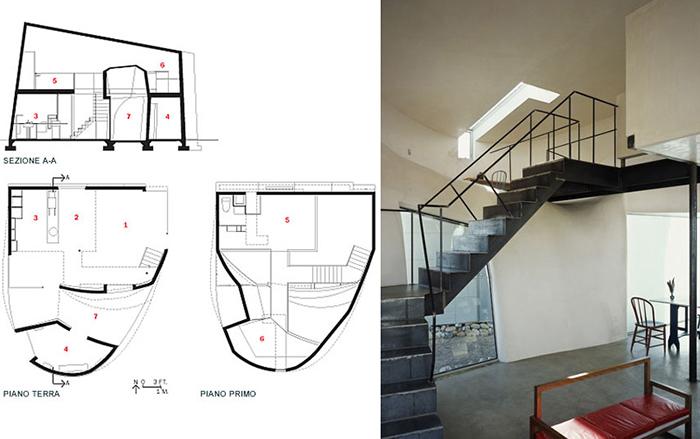 «Турбулентный дом» в Эбикью: разрез, планы и интерьер помещения