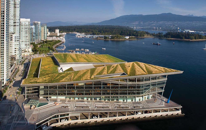 Конференц-центр в Ванкувере с высоты птичьего полета