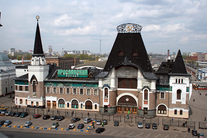 Ярославский вокзал на Комсомольской площади с высоты птичьего полета