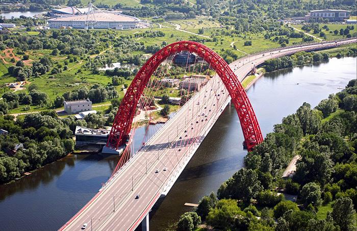 'Живописный мост' в Москве с высоты птичьего полета