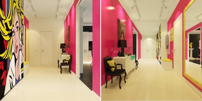 Ярко-розовая прихожая с огромным изображением девушки с картины Роя Лихтенштейна - американского художника, работавшего в стиле поп-арт.
