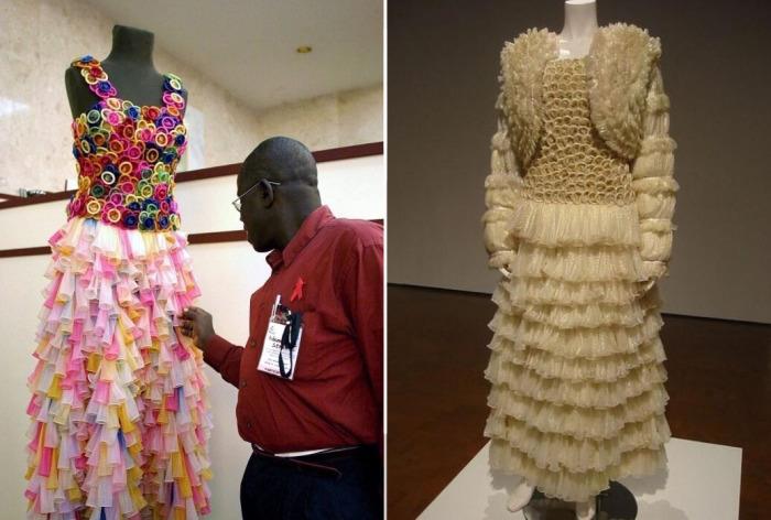 Свадебное платье из презервативов сшил австралийский «кутюрье».