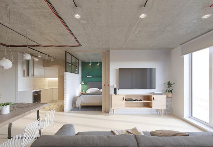 Оригинальная пензенская квартира, дизайн которой выполнен в промышленном стиле.