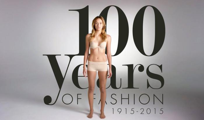 100 лет моды (с 1915 по 2015) за 2 минуты.