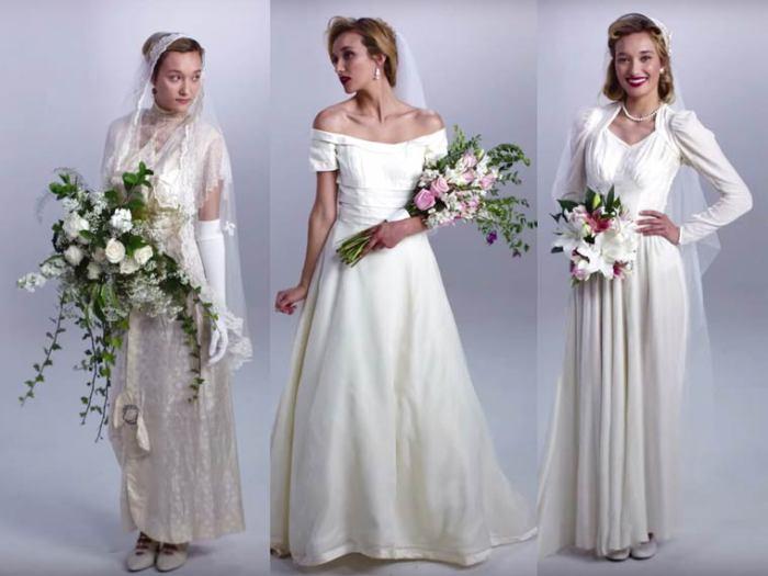 Эволюция свадебных нарядов за последнее столетие.