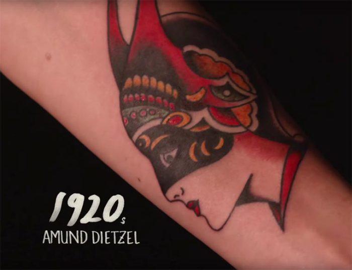 В двадцатые годы прошлого века тату-мастер Amund Dietzel (Амунд Дитзель) использует насыщенные цвета для создания татуировок.