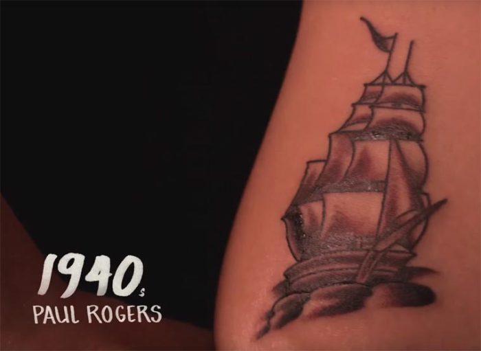 В сороковые годы двадцатого века знаменитый татуировщик Paul Rogers (Пол Роджерс) придумал рисунок в виде парусного корабля, изображенного в темных цветах.