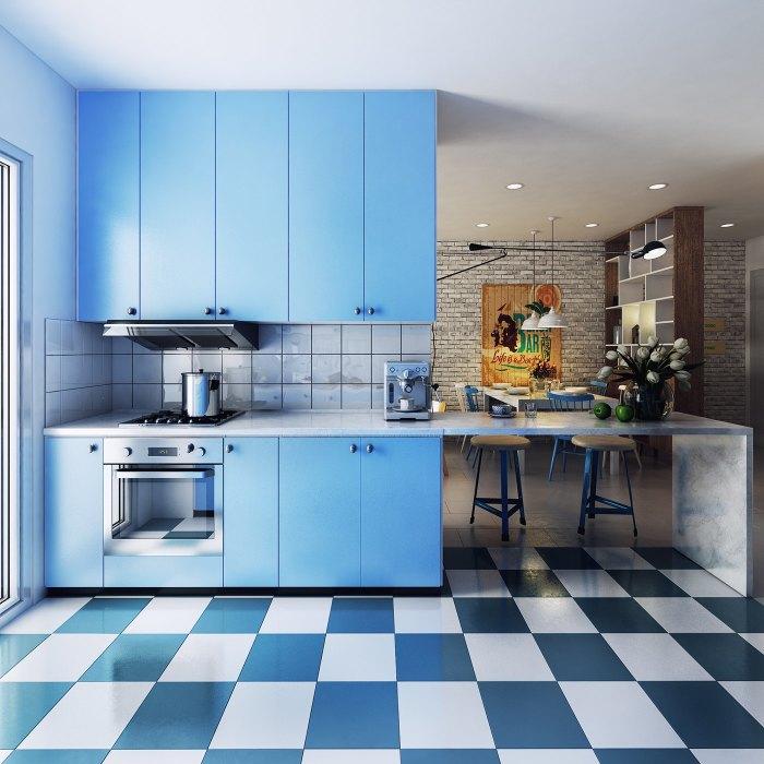 Кухня в голубой цветовой гамме выглядит очень стильно и оригинально.