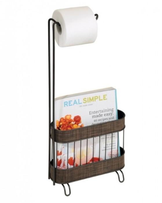 Держатель для рулона туалетной бумаги со специальной корзиной, в которой можно хранить журналы.