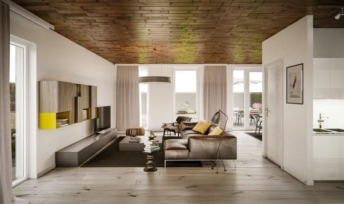 Особый уют помогают создать деревянные элементы и теплая коричневая цветовая гамма.