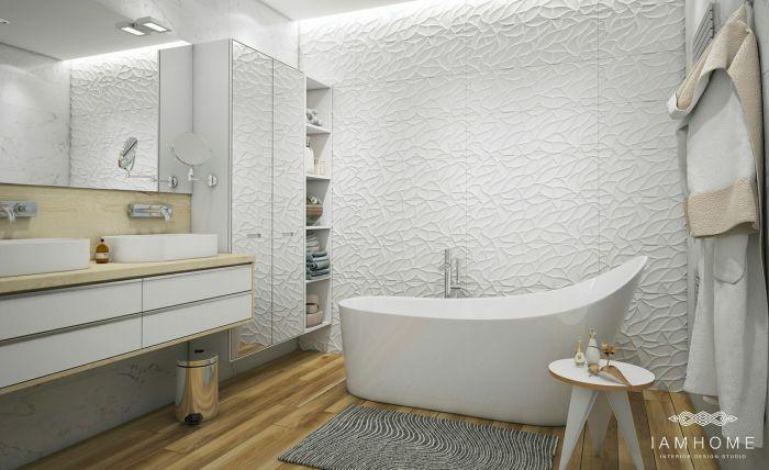 Необычная ванная делает санузел уютным и оригинальным.