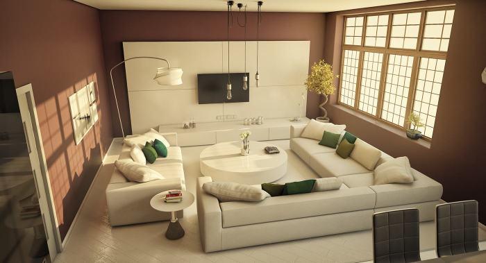 Апартаменты с различными источниками освещения и длинными лампами накаливания.