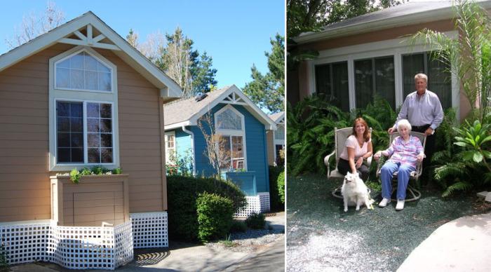 Пожилых родственников можно поселить в небольшой уютный дом, который поместится на заднем дворе.