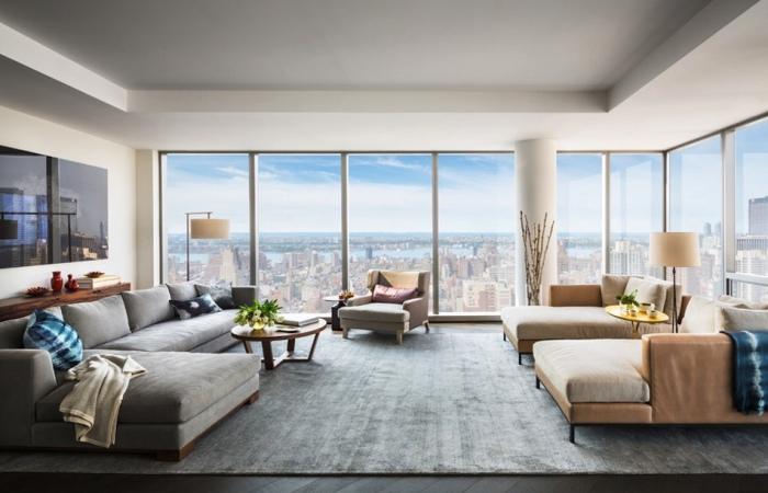 Гостиная Жизель Бундхен (Gisele Bundchen) и Тома Брэди (Tom Brady) в доме на Манхэттене.