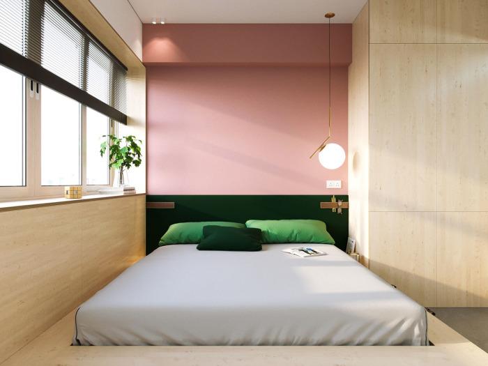 Спальное место в малогабаритке, которая находится в городе Тайчжун (Тайвань).