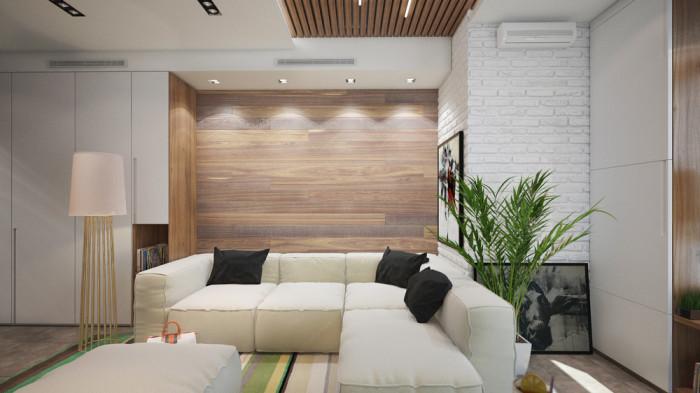 Эко-стиль в интерьере небольшой квартиры-студии площадью 29 квадратных метров.