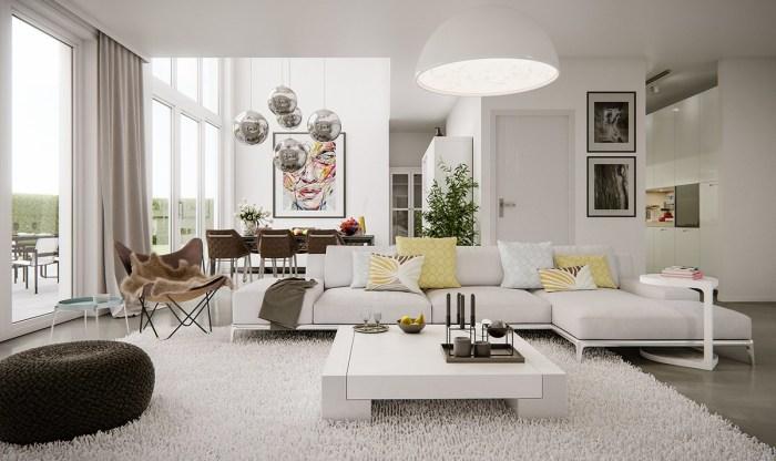Апартаменты в пастельных тонах с акцентами в виде аксессуаров бледно-желтого цвета.