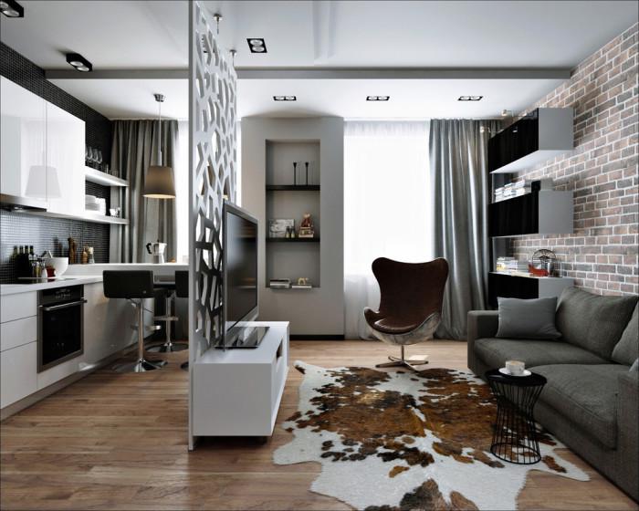 Маленькая квартира-студия площадью 26 квадратных метров с декоративной перегородкой.