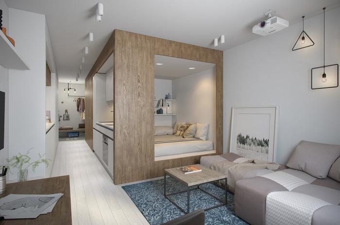 Маленькая, но очень функциональная квартира, которая располагается в Санкт-Петербурге.