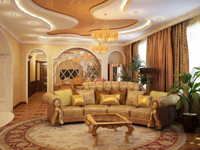 Золотые элементы и так называемая классическая мебель выглядят не дорого, а наоборот - довольно дешево.