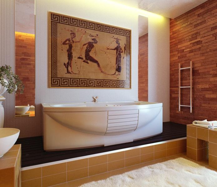 Легенды и мифы Древней Греции - без их сюжетов никак не обойтись в оформлении греческой ванной комнаты.