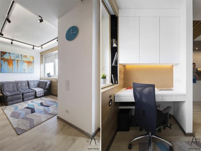 Гостиная и рабочая зона в квартире-студии, площадь которой 48 квадратных метров.