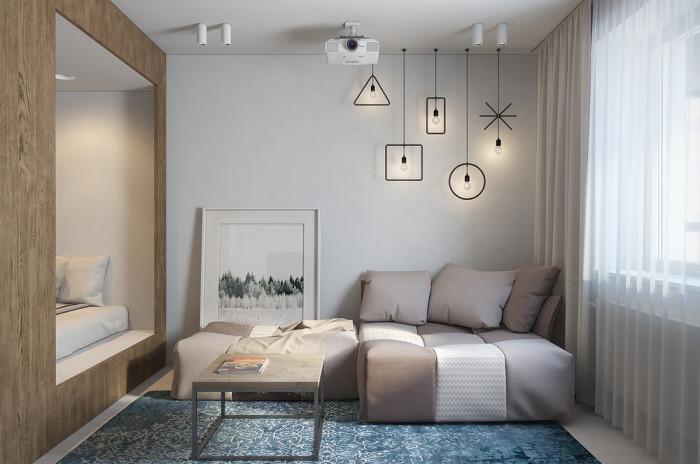 Светлая и довольно просторная квартира на площади 29,8 квадратных метров.