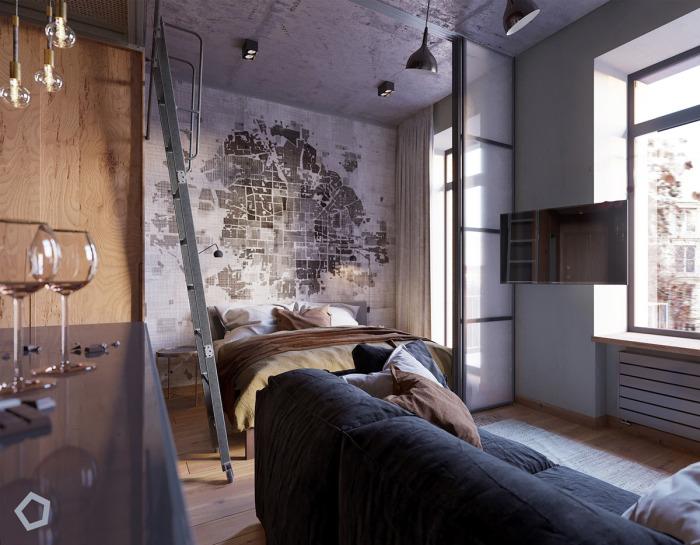 Комната делится на несколько жилых зон.