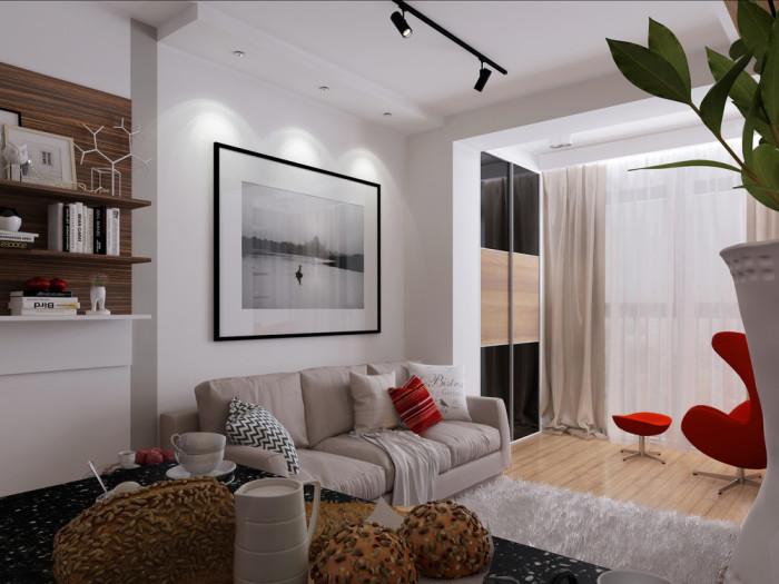 Площадь этой квартиры - двадцать девять с половиной квадратных метров.